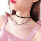 ショッピングネックレス ネックレス レディース サークルモチーフ ダブル 鎖骨レザー ネックレス 首チェーン レザーネックレス