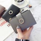 財布 レディース シンプル puレザー 財布 サークル ゴールド バックル 大容量 シンプル サイフ カード入れ 札入れ