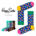 Happy Socks ハッピーソックスJUNK FOOD HAMBURGER ( ハンバーガー )クルー丈 綿混 ソックス 靴下 ユニセックス レディース11113017