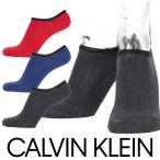 Calvin Klein Casual フットカバー ソックス 綿混 ロゴ刺繍 太リブ ショートソックス メンズ  カジュアル ソックス