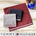 TOMMY HILFIGER タオルハンカチ ボーダー柄 ロゴ刺繍 ミニタオル 2582-146 ブランドギフト包装無料
