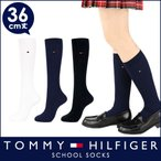 TOMMY HILFIGER トミーヒルフィガー スクールソックス ワンポイント 刺繍 36cm丈 レディス ハイソックス 靴下 3481-600 ポイント10倍