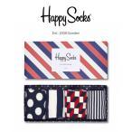 Happy Socks ハッピーソックス STRIPE 4足組 ギフトセット 綿混 クルー丈 ソックス 靴下 GIFT BOX ユニセックス メンズ&レディス h605905