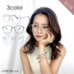 GG eyewear 伊達メガネ スクエア サングラス UVカット 99.9% おしゃれ レディース 紫外線 大きめ 女性用 ユニセックス fi3119