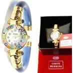イタリア製メーカー正規品コルテムリーナ(Corte Murrina)ベネチアンガラスバングル腕時計ゴールドライトブルー