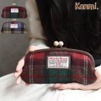 ショッピングツイード [ハリスツイード]Kanmi. ハリスツイード木玉がま口ロングウォレット日本製 グレンチェック取扱店舗限定商品