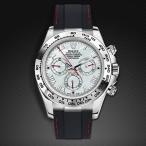 RUBBERB ロレックス デイトナ YG/WG(革ストラップ)(Ref.116518、116519)専用ラバーベルト【ブラック×レッドステッチ】※時計、バックルは付属しません