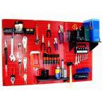 工具・壁掛けペグボードキット 3 panel Red (ペグカラー:Black)