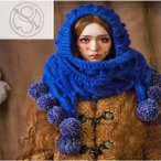 レディース 手編み帽子 ニット帽子 マフラー 手作り ポンポン イヤーカバー 耳当て 防寒 青 かわいい 森ガール コットン 秋冬