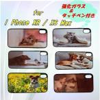 iPhone X ,i Phone XR ,i PhoneXs max ペット 犬 猫 アザラシ オリジナルケース 強化ガラス&タッチペン付き ゆうパケット送料無料
