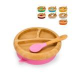 アヴァンシー Avanchy ベビー 食器 吸盤付き 竹のベビープレート + スプーン セット ひっくり返らない