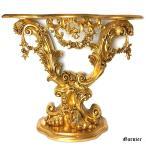 アンティーク調 コンソール テーブル リーフ装飾 ゴールド バロック調 ロココ調 中世 ヨーロッパ 教会 お城 インテリア