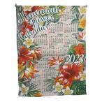 カレンダー2018壁掛け ジュートSHELL ハワイアン  メール便送料無料 チャイハネ ジュートカレンダー アジアン ポスター布カレンダー ワンページカレンダー