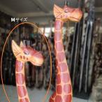 ペインティングジラフMキリン置物木彫り動物バリ雑貨オブジェエスニックアジアン