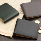 二つ折り財布 メンズ 本革 日本製 小銭入れなし
