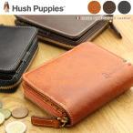 Hush Puppies(ハッシュパピー) イタリアンレザー 牛革 ラウンドファスナー二つ折り財布 メンズ