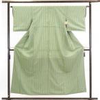 リサイクル着物 小紋 正絹グリーン縦縞袷小紋着物