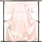 リサイクル着物 訪問着 正絹薄ピンク地鶴柄袷訪問着着物未使用品