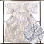 リサイクル着物 紬 正絹白地笹柄袷紬着物