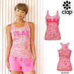 CLAP(クラップ) ZEBRA-PINK(ゼブラピンク) Yバックタンク(タンクトップシャツ)|ピンクリボン×ゼブラ色で超オシャレなフィットネスウェア