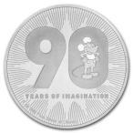 2018年 (新品) 特別 90年記念 ディズニー「 ミッキー 」1オンス .999 31.1グラム 純銀 銀貨・カプセル入り・保証書付き