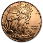 [カプセル付き] (新品) アメリカ「ウォーキング・リバティ」純銅・1オンス 28.35gm 銅貨 コイン