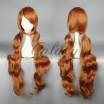 ユリ熊嵐 百合ヶ咲るる ブラウン 巻き髪 ロング コスプレウィッグ  wig-576b