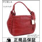 FURLA フルラ 美品 クロコ ハンドバッグ レッド ワンショルダーバッグ 中古 レディース 赤 鞄