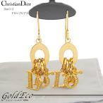 送料無料 Christian Dior クリスチャン ディオール ラインストーンロゴ ドロップアメリカンピアス 中古 アクセサリー