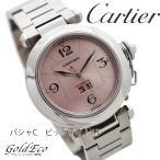 超美品 Cartier カルティエ パシャC ビッグデイト ボーイズ腕時計 W31058M7 自動巻き ピンク文字盤/SS【新品仕上済み】 中古