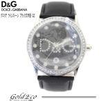 送料無料 ドルチェ&ガッバーナ グロリア メンズ ラインストーン ブラック文字盤 純正レザーベルト DW0008 腕時計 未使用 中古