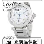 カルティエ パシャC スモールデイト ボーイズ 腕時計 W31015M7 自動巻き シルバー ホワイト 文字盤 SS 中古  Cartier 送料無料