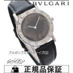 ブルガリブルガリ クォーツ ボーイズ 腕時計 BB30SLD ブラック文字盤 SS ブラック レザーベルト 中古  BVLGARI
