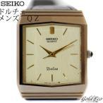 セイコーDOLCE クォーツ メンズ 腕時計 シャンパンゴールド文字盤 レザーベルト中古 ドルチェ SS×GP SEIKO