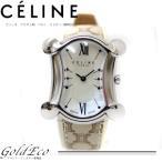 送料無料 美品  CELINE セリーヌ  マカダム柄ベルト 腕時計 レディース クォーツ スクエア シルバー ベージュ スイス製 中古