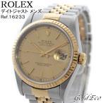 ロレックス デイトジャスト メンズ 腕時計 自動巻き Ref.16233 SS×K18YG コンビ オートマティック ゴールド文字盤 W番 中古 ROLEX
