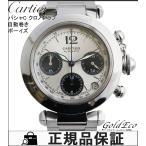 カルティエ パシャC ボーイズ 腕時計 クロノグラフ デイト表示 自動巻き W31048M7 オートマ シルバー ステンレス シルバー文字盤 スモールセコンド 中古 Cartier