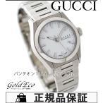 美品 グッチ パンテオン 115.5 レディース 腕時計 クォーツ YA115501 ホワイト文字盤 SS デイト機能 中古 GUCCI