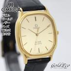 OMEGA オメガ デビル ゴールド レザー メンズ 電池式 腕時計 アナログ 男性用 クォーツ ステンレス 金 革 ブラック ゴールド文字盤 中古