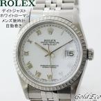 ロレックス メンズ 腕時計 デイトジャスト 自動巻き シルバー 16220 ステンレス ホワイトローマン エンジンターンドベゼル 中古 ROLEX