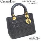 クリスチャンディオール レディディオール カナージュ ハンドバッグ ラムスキン ブラック ゴールド金具 レディース 中古 Christian Dior