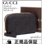未使用品 グッチ グッチシマ ラウンドファスナー コインケース 324801 ダークブラウン レザー 財布 レディース メンズ 中古 美品 GUCCI