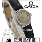 OMEGA オメガ カットガラス アンティーク レディース腕時計 手巻き シルバー文字盤/ブラック SS/社外レザーベルト【OH済み】中古