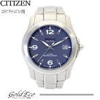 送料無料 CITIZEN シチズン アテッサ エコドライブ ソーラー チタン ブルー文字盤 ATD53-2541 デイト メンズ 腕時計 中古