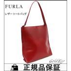 FURLA フルラ レザー トートバッグ レッド ショルダーバッグ 赤  肩掛け 中古 レディース 鞄 カバン