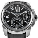 カルティエ カリブル ドゥ カルティエ シースルーバック SS メンズ 時計 自動巻 黒文字盤 W7100041