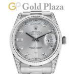 ロレックス ROLEX デイデイト 118339A P番 自動巻き メンズ 腕時計 シルバー文字盤 10P ダイヤモンド K18WG 中古