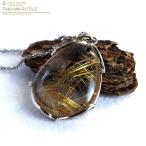 高品質 ゴールドタイチンルチルペンダント 天然石 パワーストーン Silver925