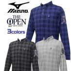 ミズノ ゴルフ メンズ 長袖 ボタンダウン ポロシャツ チェック柄 袖口にゴム付 The Open 刺繍ワッペン MIZUNO 52JA4641