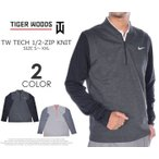 (在庫処分商品)タイガーウッズモデル メンズウェア テック 1/2ジップ ニット 長袖プルオーバー 大きいサイズ 秋冬ウェアー